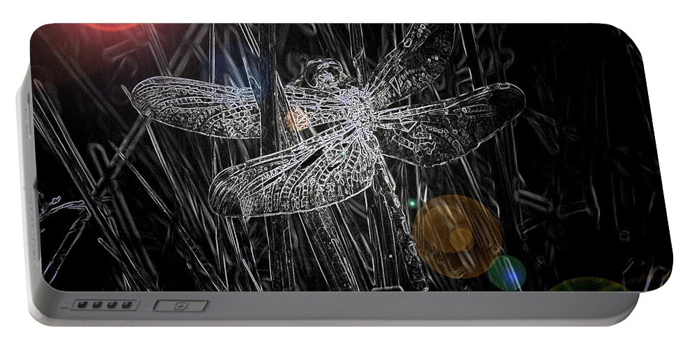 Dragonfly Art Portable Battery Charger featuring the digital art Dragonfly by Bob Kemp