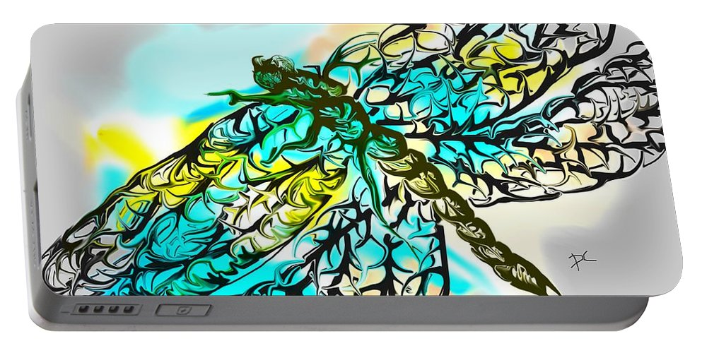 Dragonfly Portable Battery Charger featuring the digital art Dragonfly by Darren Cannell