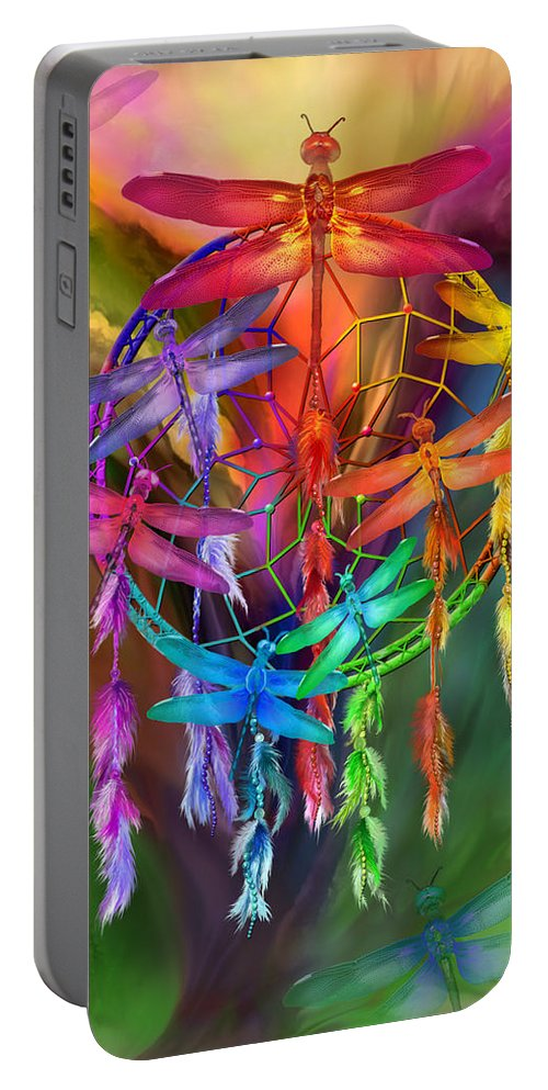 Carol Cavalaris Portable Battery Charger featuring the mixed media Dragonfly Dreams by Carol Cavalaris