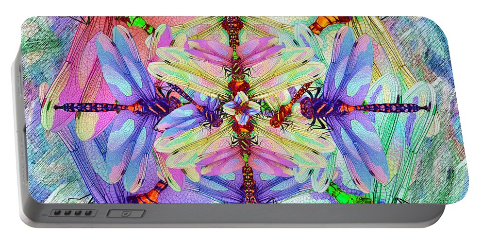 Dragonfly Portable Battery Charger featuring the painting Dragonfly Mandala by Michele Avanti