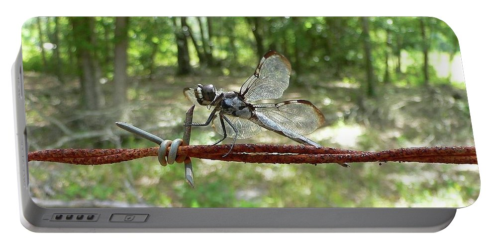 Dragonfly Portable Battery Charger featuring the photograph Dragonfly On Barbed Wire by Al Powell Photography USA