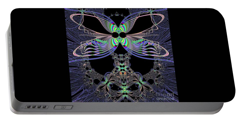 Dragonfly Queen At Midnight Portable Battery Charger featuring the digital art Dragonfly Queen At Midnight Fractal 161 by Rose Santuci-Sofranko