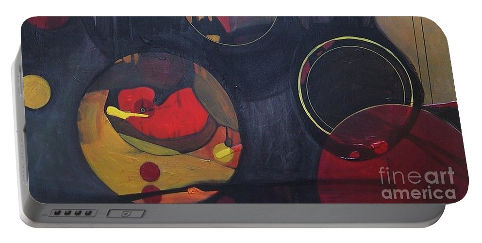 Abstract Portable Battery Charger featuring the painting Drama Resolved 1 by Marlene Burns
