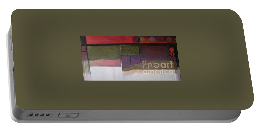 Abstract Portable Battery Charger featuring the painting Drama Too Diptych 1 by Marlene Burns