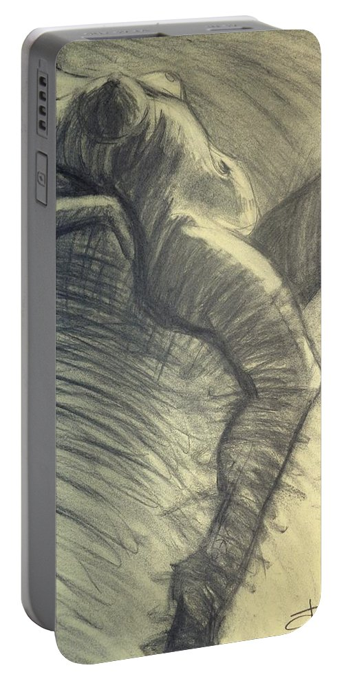 Www.carmentyrrell.co.uk Portable Battery Charger featuring the painting Dramatic 5 - Female Nude by Carmen Tyrrell