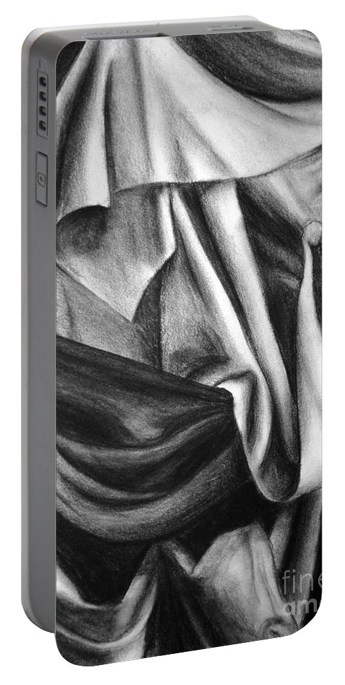 Charcoal Portable Battery Charger featuring the drawing Drapery Still Life by Nancy Mueller
