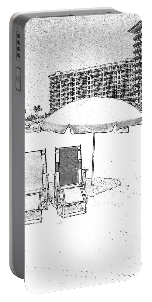Black And White Portable Battery Charger featuring the photograph Drawing The Beach Chairs by Michelle Powell
