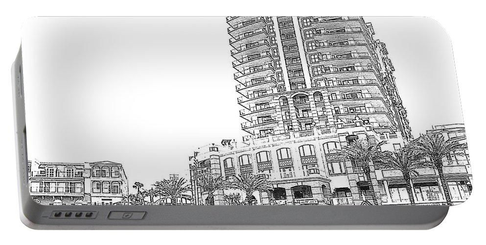 Drawing Portable Battery Charger featuring the photograph Drawing The Building by Michelle Powell