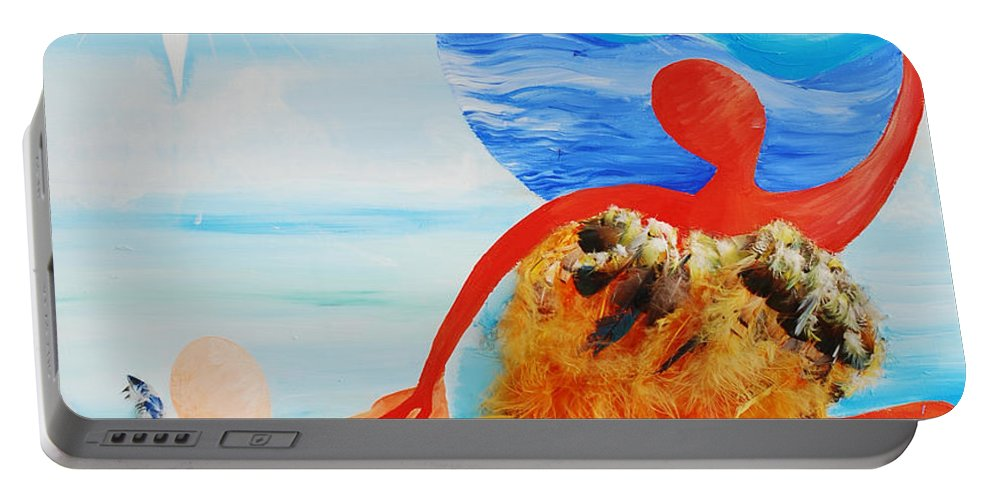 Dream Catcher Portable Battery Charger featuring the painting Dream Catcher by Catt Kyriacou
