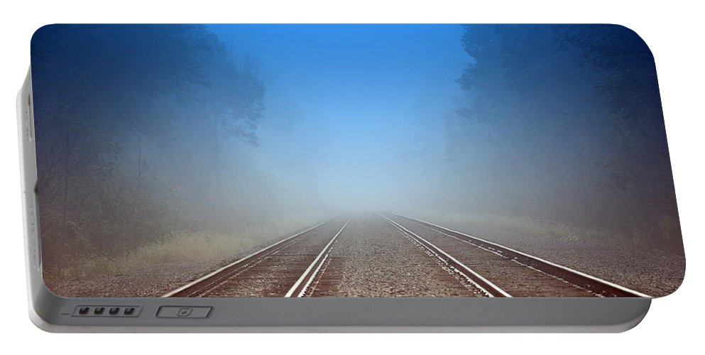 Railroad Portable Battery Charger featuring the photograph Dream Destination by Trish Tritz