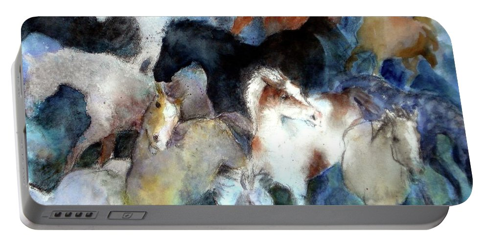 Horses Portable Battery Charger featuring the painting Dream Of Wild Horses by Christie Martin
