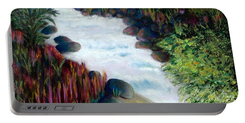 River Portable Battery Charger featuring the painting Dream River by Laurie Morgan