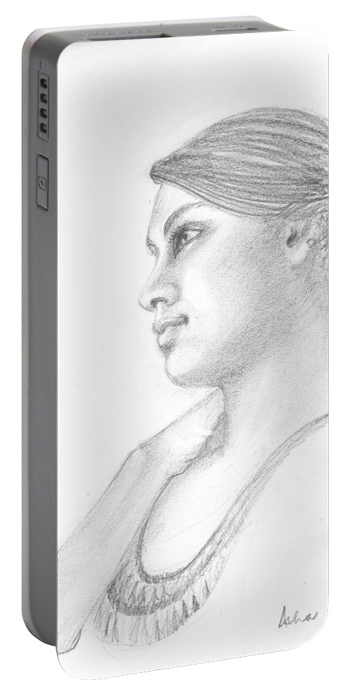 Dreamy Girl Portable Battery Charger featuring the drawing Dreamer by Asha Sudhaker Shenoy