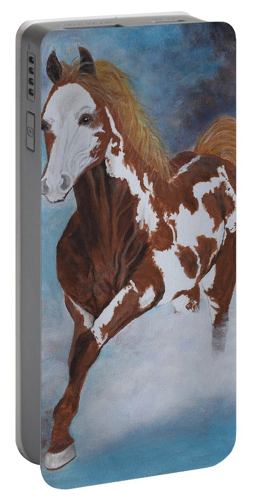 Horse Portable Battery Charger featuring the painting Dreamer by Belinda Nagy