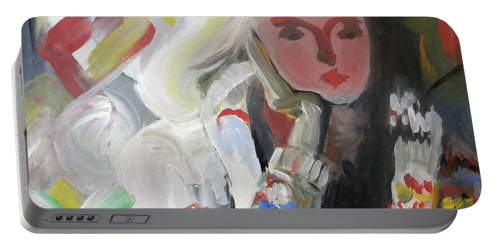 Dreamer Portable Battery Charger featuring the painting Dreamer 1984 by Ethel Mann