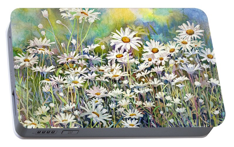 Daisy Portable Battery Charger featuring the painting Dreaming Daisies by Hailey E Herrera
