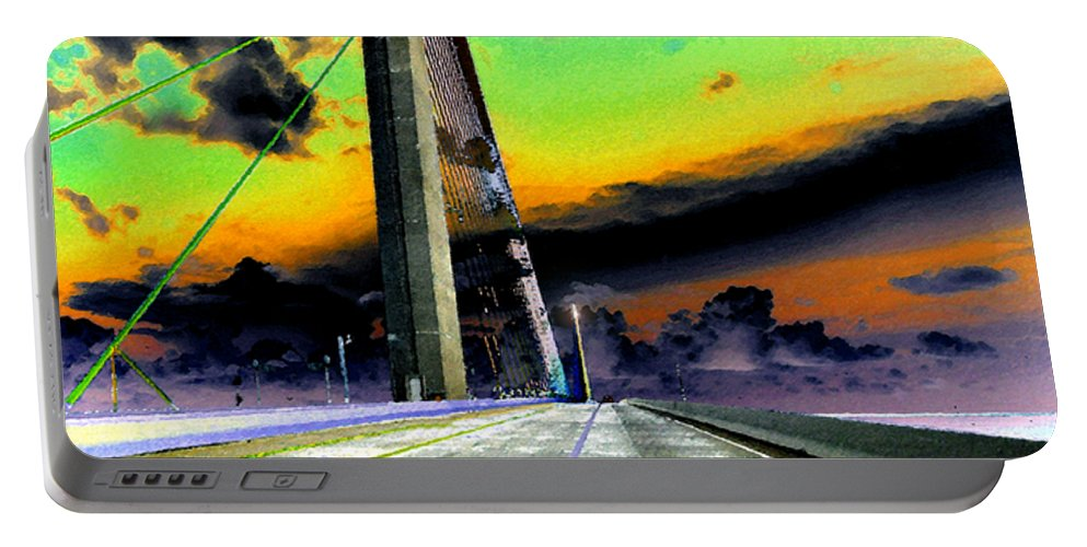 Art Portable Battery Charger featuring the painting Dreaming Over The Skyway by David Lee Thompson