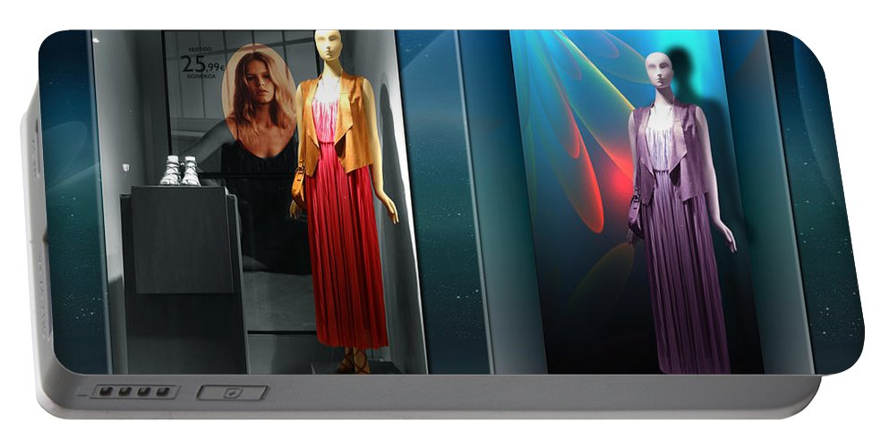 Square Womanhood Mannequins Shopwindows Fashion Blue Water Portable Battery Charger featuring the digital art Dreaming The Dream by Rosa Cobos
