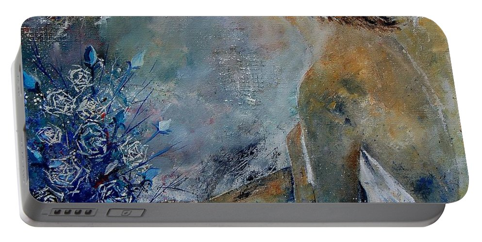 Girl Portable Battery Charger featuring the painting Dreaming Young Girl by Pol Ledent