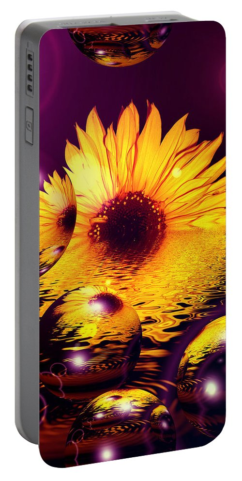 Sunflower Portable Battery Charger featuring the digital art Dreams 4 - Sunflower by P Donovan