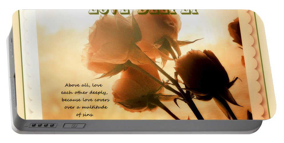 Dreams In Roses Portable Battery Charger featuring the photograph Dreams In Roses - Vintage - Verse by Anita Faye