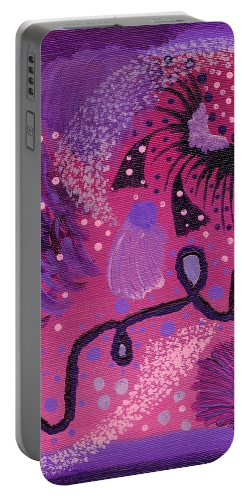 Swirls Portable Battery Charger featuring the painting Dreamy Abstract by Jill Christensen