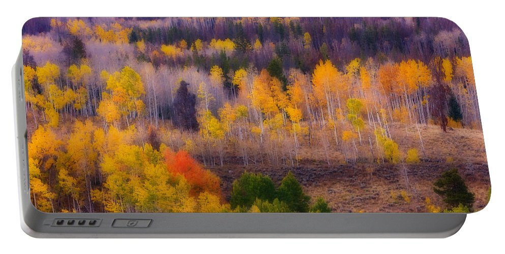 Trees Portable Battery Charger featuring the photograph Dreamy Rocky Mountain Autumn View by James BO Insogna