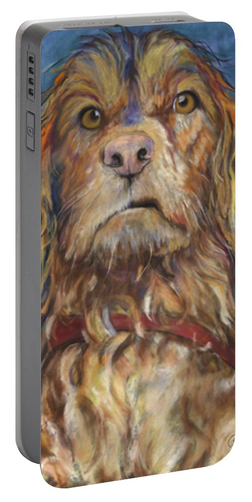 Golden Retriever Painting Portable Battery Charger featuring the pastel Drenched by Pat Saunders-White