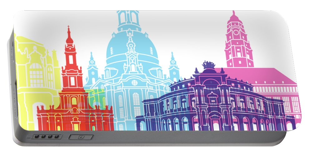 Dresden Portable Battery Charger featuring the painting Dresden Skyline Pop by Pablo Romero