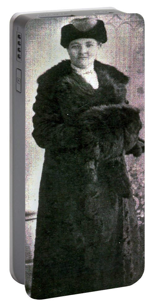 Classic Black And White Old Photo Pioneers Old Days 1900s Fur Coat Portable Battery Charger featuring the photograph Dressed In Fur by Andrea Lawrence
