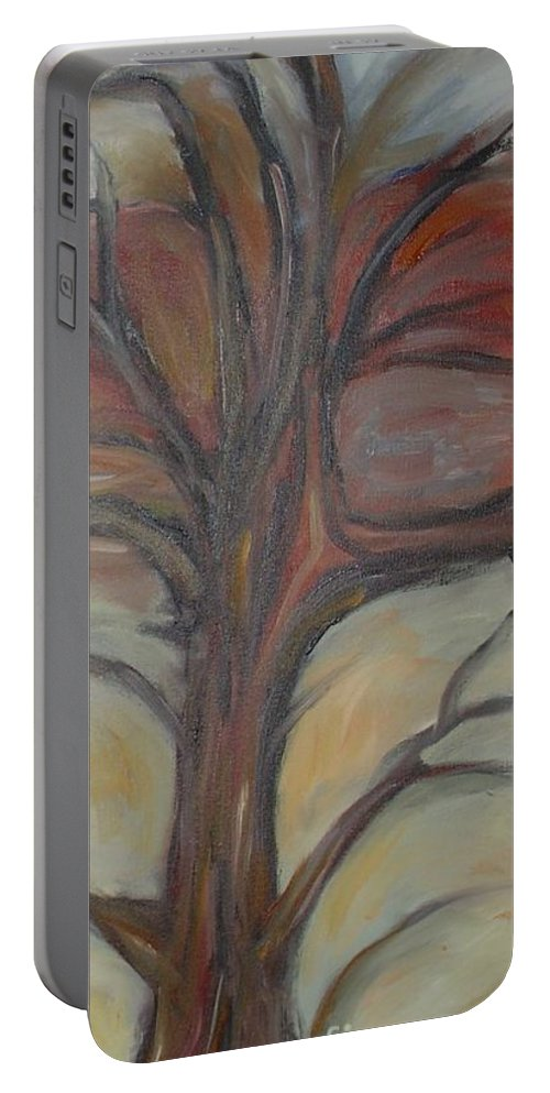 Woods Tree Abstract Original Painting Winter Portable Battery Charger featuring the painting Drift by Leila Atkinson