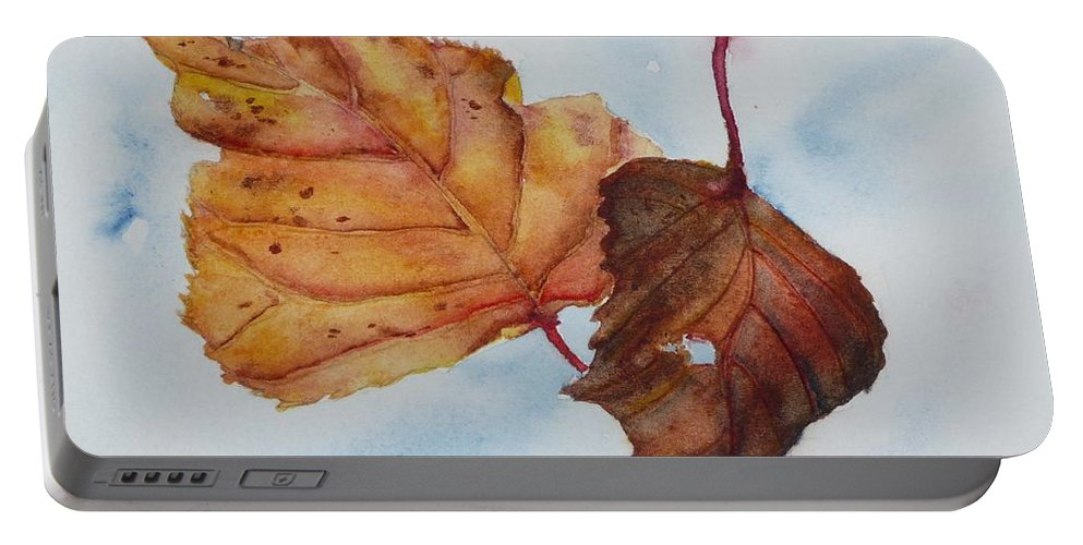 Fall Portable Battery Charger featuring the painting Drifting by Ruth Kamenev