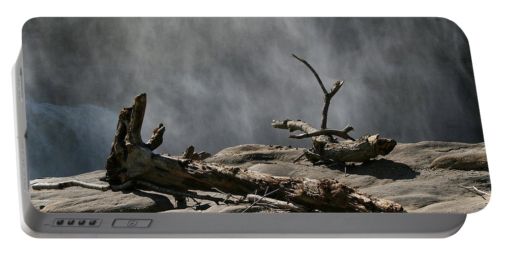 Wood Drift Driftwood Rock Mist Waterfall Nature Sun Sunny Waterful Glow Rock Old Aged Portable Battery Charger featuring the photograph Driftwood by Andrei Shliakhau