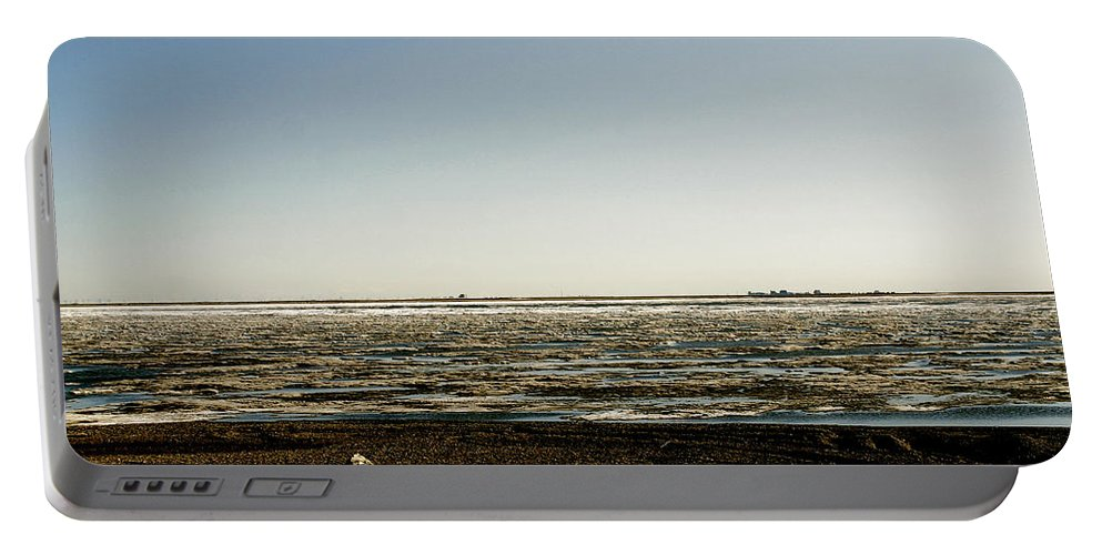 Driftwood Portable Battery Charger featuring the photograph Driftwood On Arctic Beach by Anthony Jones