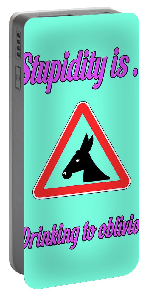 Funny Portable Battery Charger featuring the digital art Drinking Bigstock Donkey 171252860 by Mitchell Watrous