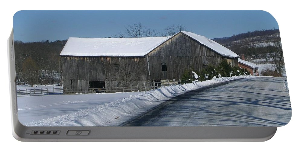 Landscape Of Old Barn On The Road Side Of A Freshly Plowed Country Road. Portable Battery Charger featuring the photograph Drive By Delight by Jack Harries