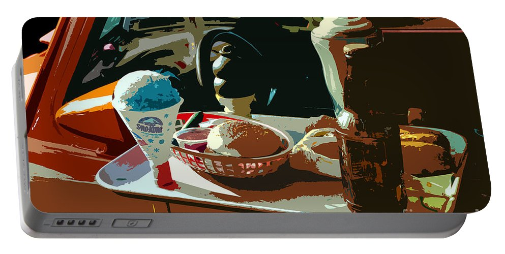 Classic Car Portable Battery Charger featuring the painting Drive In by David Lee Thompson
