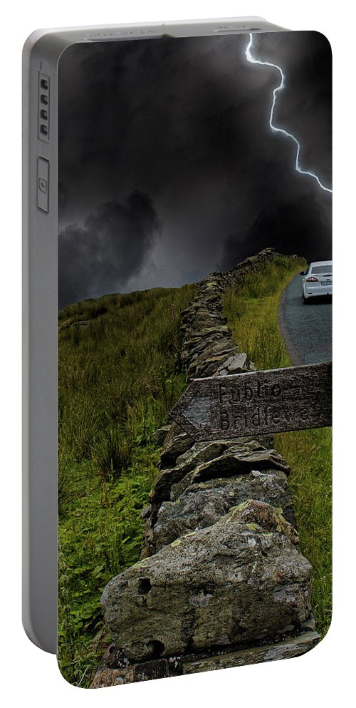 Storm Portable Battery Charger featuring the photograph Driving Into The Storm by Martin Newman