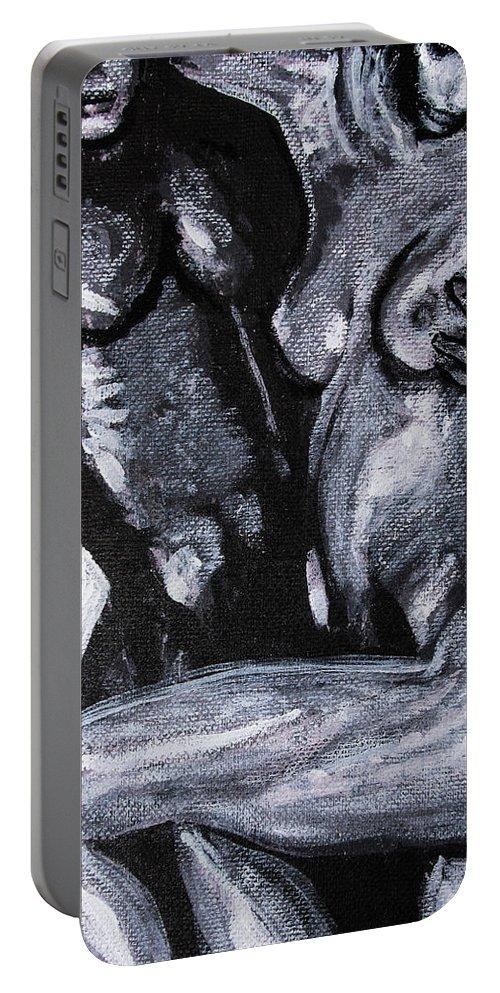 Couple Portable Battery Charger featuring the painting Drop Dead Casanova by Jarmo Korhonen aka Jarko