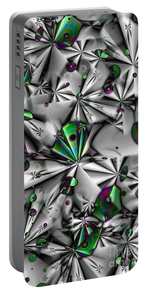 Abstract Portable Battery Charger featuring the digital art Droplets And Shuriken Green by Ron Bissett