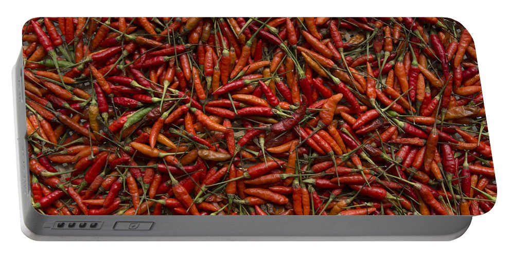 Cooking Portable Battery Charger featuring the photograph Drying Red Hot Chili Peppers by Nola Lee Kelsey