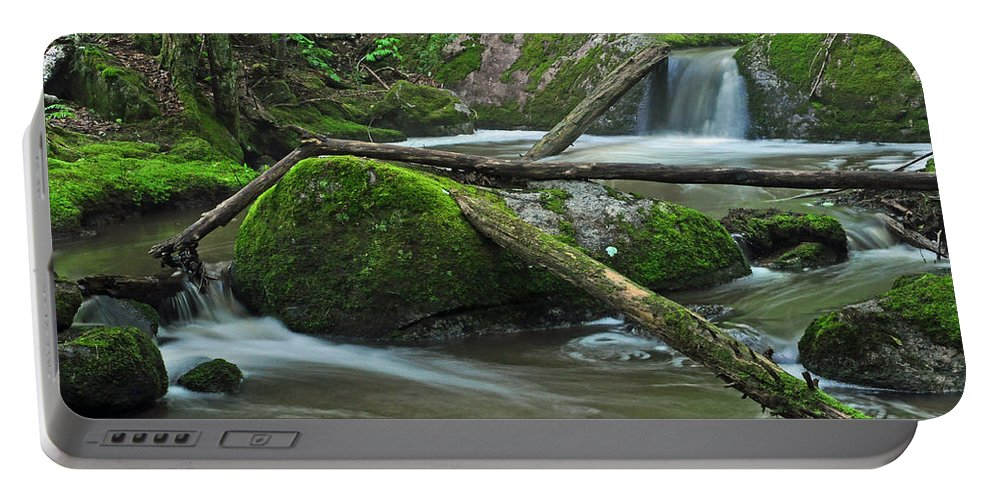 Stream Portable Battery Charger featuring the photograph Dual Falls by Glenn Gordon