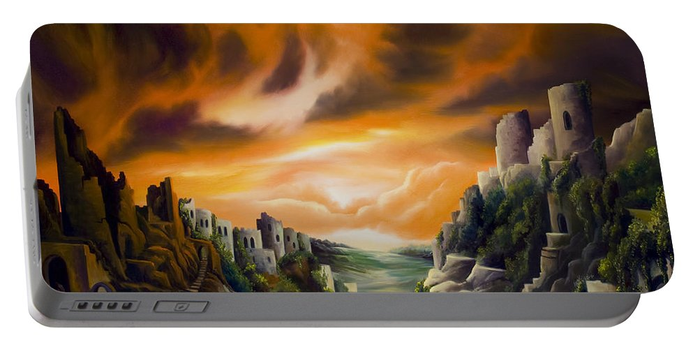 Ruins; Cityscape; Landscape; Nightmare; Horror; Power; Roman; City; World; Lost Empire; Dramatic; Sky; Red; Blue; Green; Scenic; Serene; Color; Vibrant; Contemporary; Greece; Stone; Rocks; Castle; Fantasy; Fire; Yellow; Tree; Bush Portable Battery Charger featuring the painting Duallands by James Christopher Hill