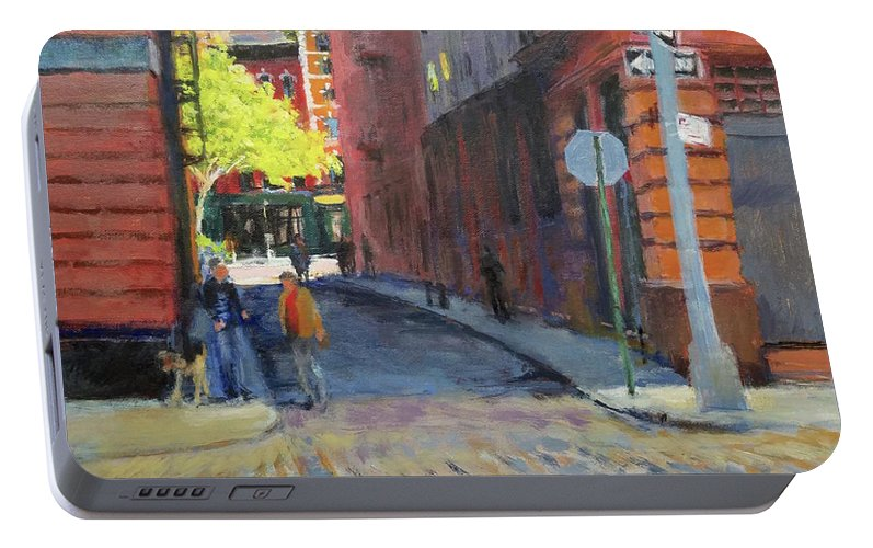 Landscape Portable Battery Charger featuring the painting Duane Park From Staple Street by Peter Salwen