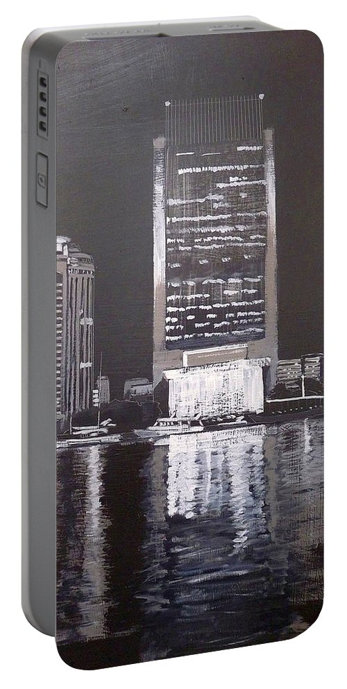 Dubai Portable Battery Charger featuring the painting Dubai At Night by Richard Le Page