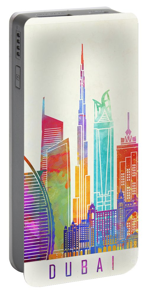 Dubai Skyline Portable Battery Charger featuring the painting Dubai Landmarks Watercolor Poster by Pablo Romero