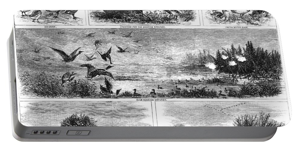 1868 Portable Battery Charger featuring the photograph Duck Hunting, 1868 by Granger