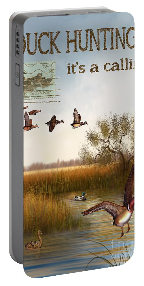Jjean Plout Portable Battery Charger featuring the painting Duck Hunting-jp2783 by Jean Plout