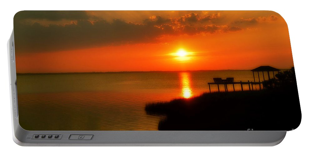 Obx Portable Battery Charger featuring the photograph Duck Sunset Outer Banks North Carolina by Randy Steele