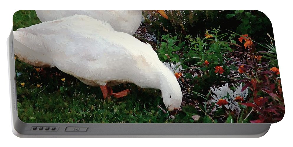 Ducks Portable Battery Charger featuring the painting Ducks In The Garden At The Shipwright's Cafe by RC DeWinter